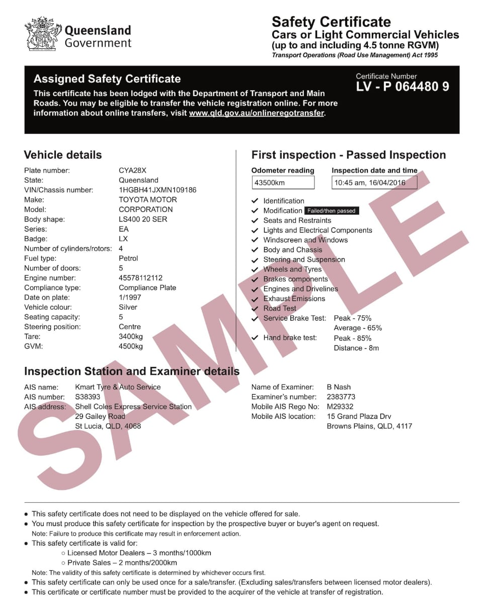 sample roadworthy safety certificate example with red sample watermark