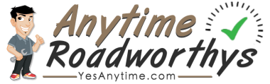 Anytime Roadworthys logo gold and black text with cartoon mechanic holding wrench