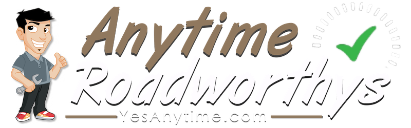 Anytime Roadworthys logo gold and white text with cartoon mechanic holding wrench